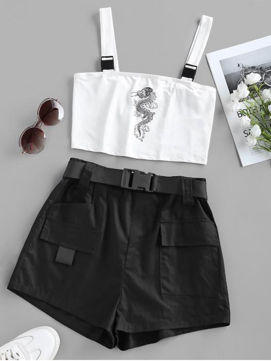 sale ZAFUL Oriental Dragon Print Top and Cargo Shorts Set - WHITE L