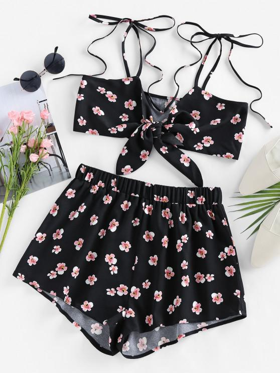 womens ZAFUL Tie Front Floral Two Piece Set - BLACK S