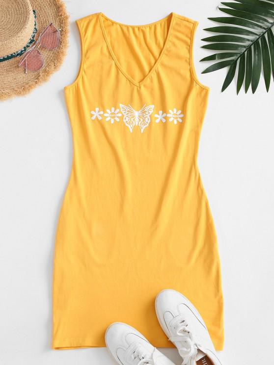 online V Neck Butterfly Floral Tank Dress - YELLOW L