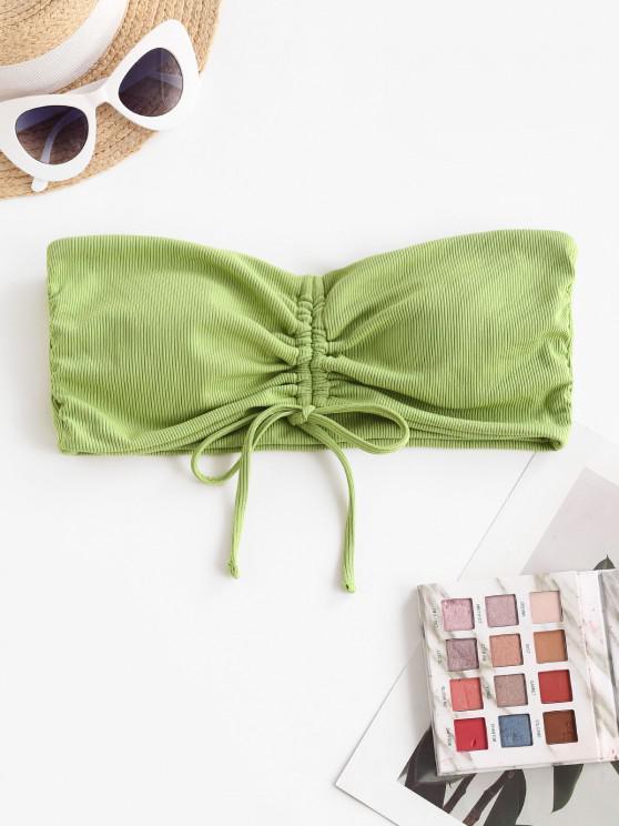 shops ZAFUL Ribbed Cinched Tie Bandeau Bikini Top - LIGHT GREEN L