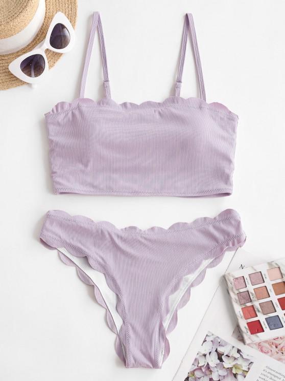 hot ZAFUL Scalloped Ribbed Cami Tankini Swimwear - LIGHT PURPLE S