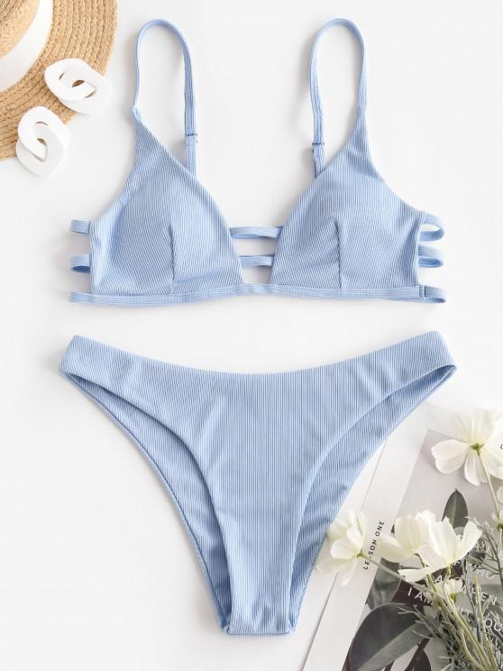 lady ZAFUL Ribbed Ladder Cutout Seam Detail Bikini Swimwear - LIGHT BLUE S
