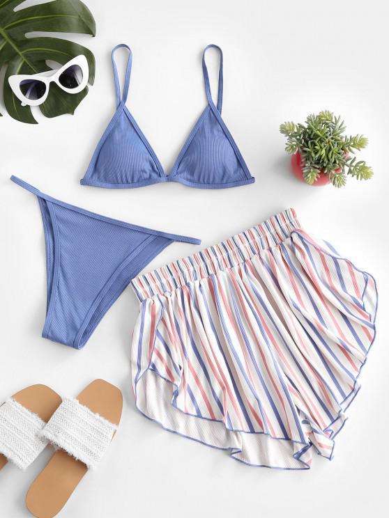 women ZAFUL Patriotic American Flag Ribbed Three Piece Bikini Swimwear - SILK BLUE M