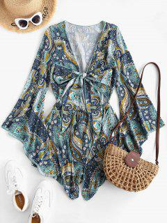 Printed Cut Out Tie Front Flare Sleeve Romper - Blue Koi M