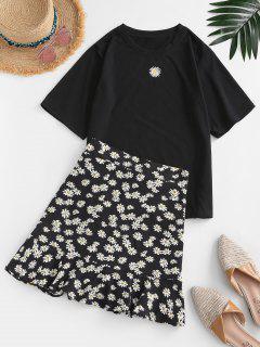 Floral Flounce Two Piece Dress - Black L