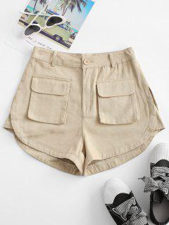 Flap Pockets Cargo Shorts - Light Coffee L