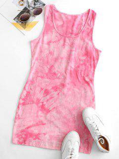 Tie Dye Bodycon Tank Dress - Light Pink S