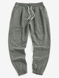 Pantalon De Jogging Motif De Lettre à Taille Elastique - Gris Foncé 4xl