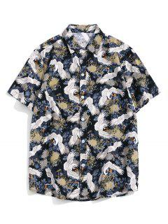 Chinese Cranes Print Button Up Short Sleeve Shirt - Multi-a 2xl