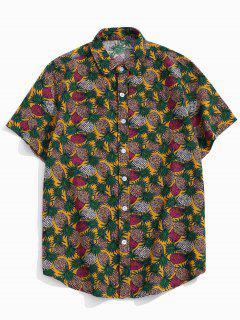 Tropical Pineapple Print Short Sleeve Button Up Shirt - Yellow Xs