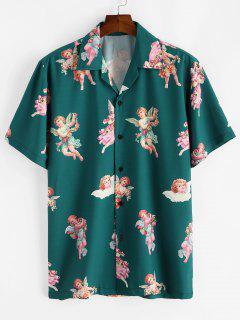 Paradise Floral Angel Print Beach Shirt - Deep Green Xl