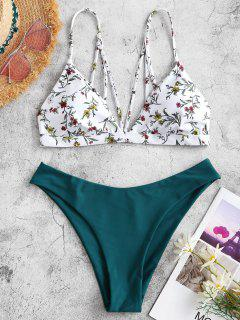 ZAFUL Ditsy Print Strappy Back Bikini Swimwear - Deep Green S