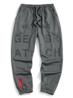 Pantalon De Survêtement Lettre Graphique à Taille Elastique - Gris Foncé 3xl