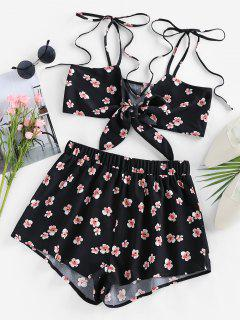 ZAFUL Tie Front Floral Two Piece Set - Black M