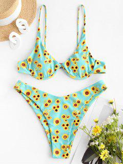 ZAFUL Sunflower Print Underwire High Leg Bikini Swimwear - Green S