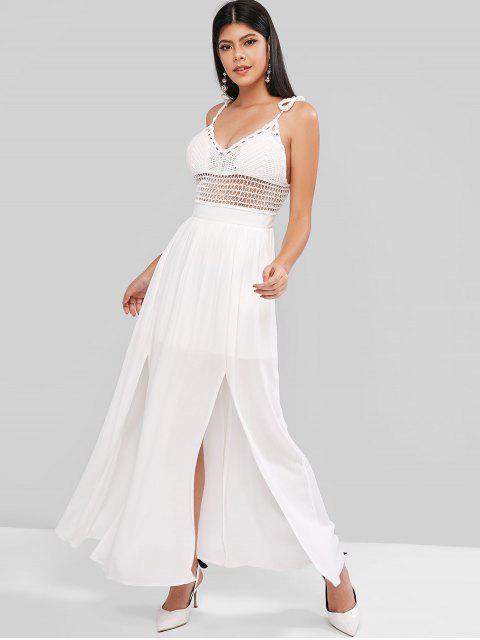 ZAFUL Vestido Maxi de Painel de Crochê com Fenda - Branco M Mobile