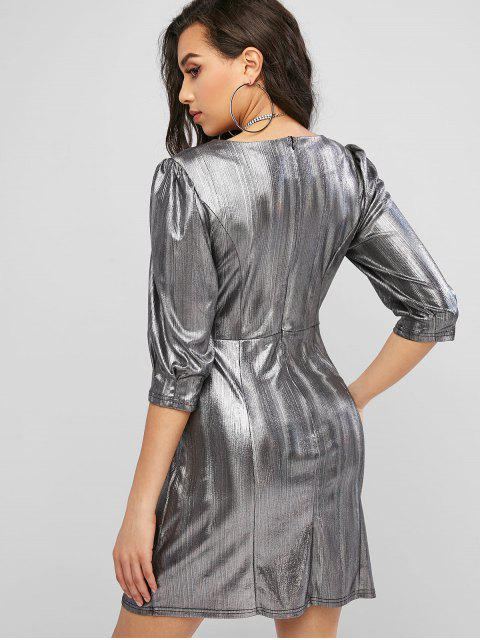 best ZAFUL Sweetheart Party Glittery Reflective Mini Dress - SILVER S Mobile