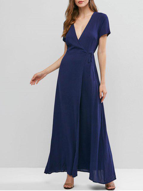 ZAFUL Vestido Maxi Cor Sólida Envoltório Sólido - Azul da Meia Noite S Mobile