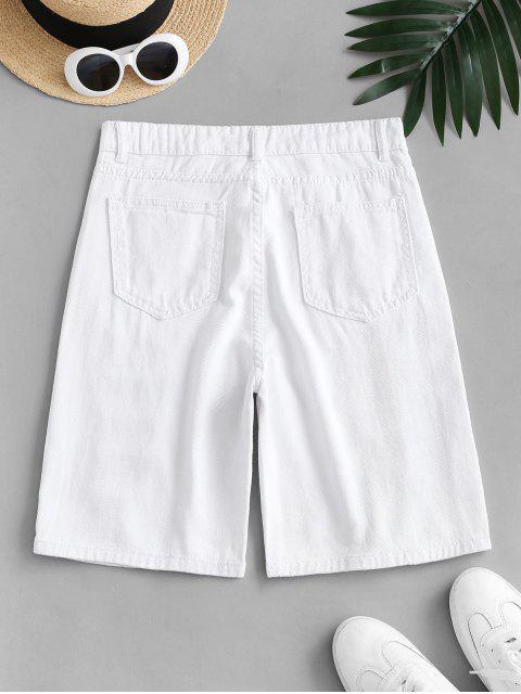 Pantaloncini di Jeans Distrutti a Vita Alta - Bianca L Mobile