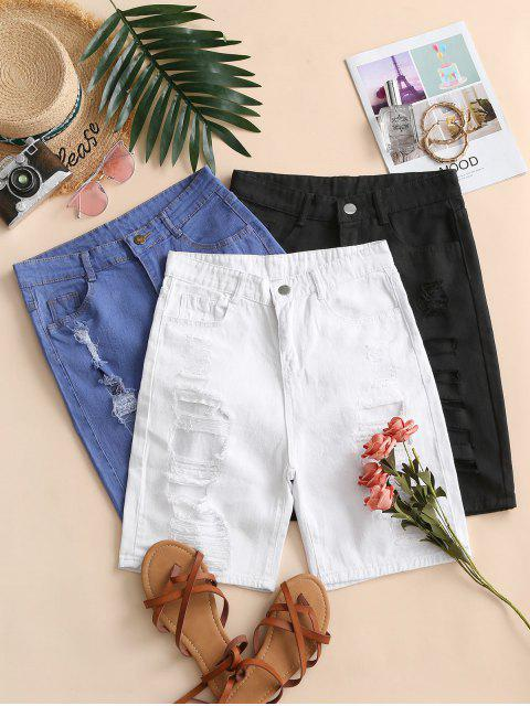 trendy Distressed High Waisted Denim Shorts - BLUE L Mobile