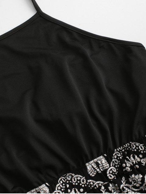 Verknoteter Ethnischer Elephant Druck Neckholder Strampler - Schwarz XL Mobile