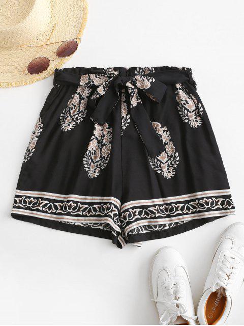 fancy Leaf Print Paperbag Shorts - BLACK L Mobile