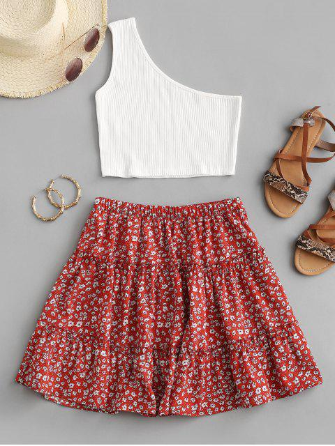 outfits Ribbed One Shoulder Ditsy Print Tiered Skirt Set - RED L Mobile
