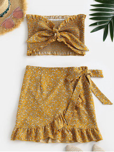 fashion Tiny Floral Smocked Ruffles Skirt Set - YELLOW S Mobile