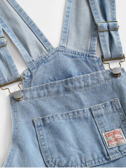 sale Pockets Denim Overalls Romper - LIGHT BLUE L Mobile