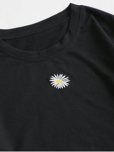 best Floral Flounce Two Piece Dress - BLACK M Mobile