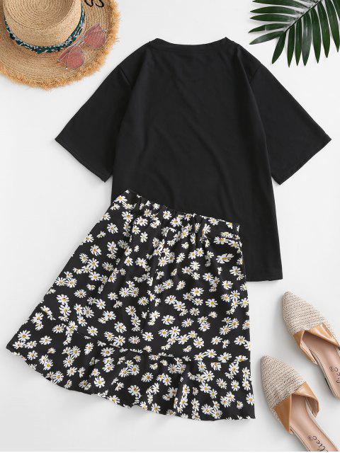 online Floral Flounce Two Piece Dress - BLACK XL Mobile