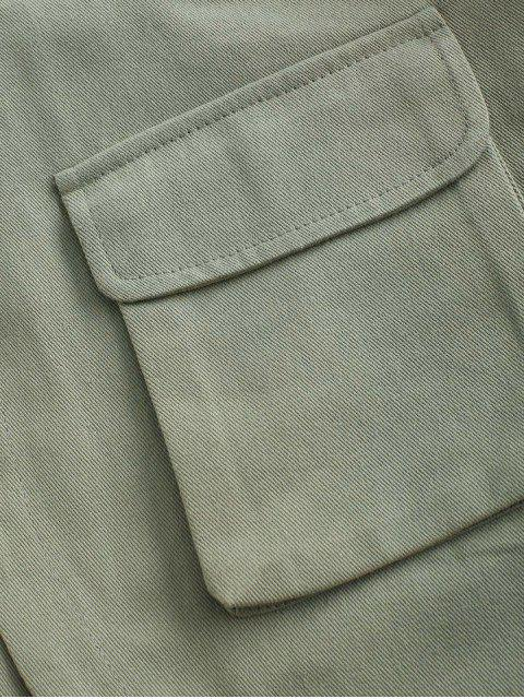 hot Flap Pockets Cargo Shorts - GREEN M Mobile