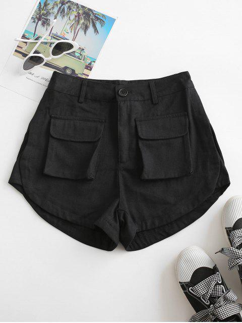 ladies Flap Pockets Cargo Shorts - BLACK M Mobile