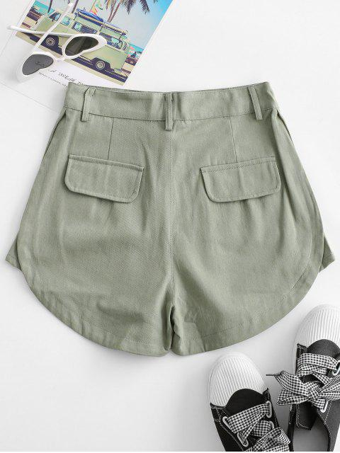 online Flap Pockets Cargo Shorts - GREEN S Mobile