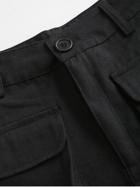 new Flap Pockets Cargo Shorts - BLACK S Mobile
