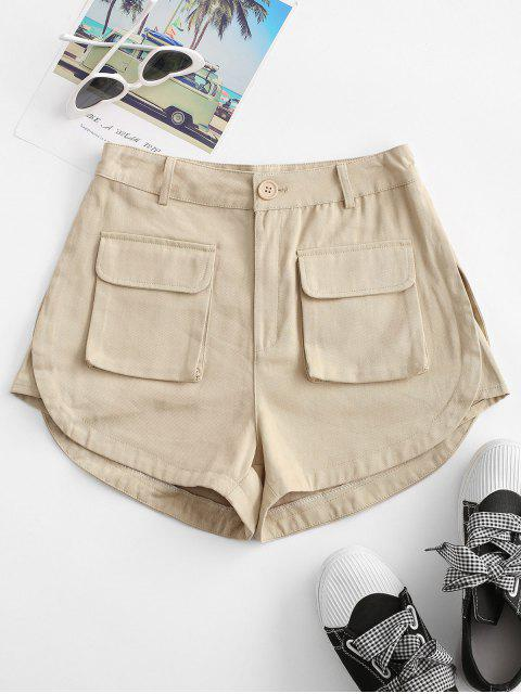 affordable Flap Pockets Cargo Shorts - LIGHT COFFEE L Mobile