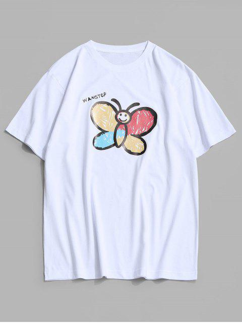 affordable Basic Butterfly Paint Print T-shirt - WHITE S Mobile