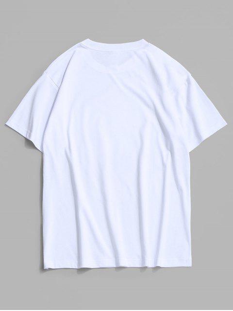 Basik T-Shirt mit Schmetterlingsdruck - Weiß XL Mobile