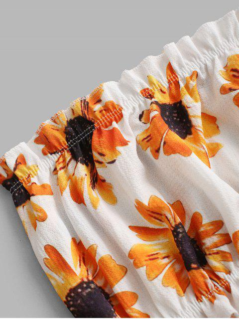 women ZAFUL Sunflower Bandeau Top - WHITE S Mobile