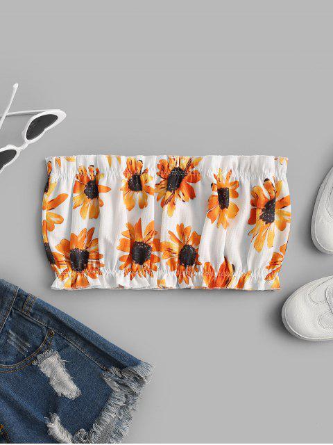 ZAFUL Sonnenblume Bandeau Top - Weiß XL Mobile