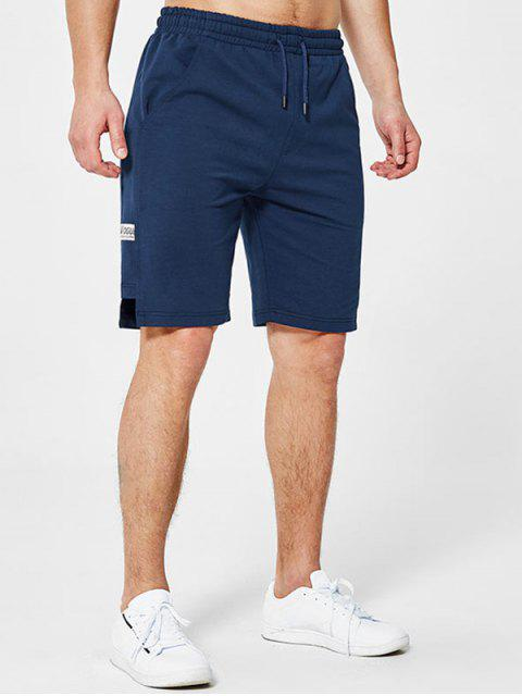 Briefstickerei Applique Sweat Shorts - Tiefes Blau XL Mobile