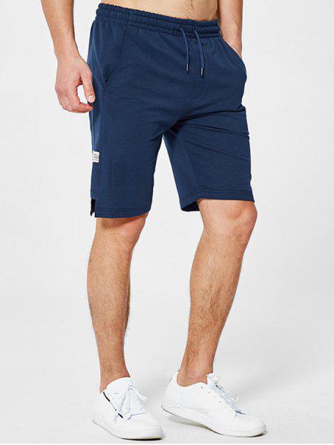 fashion Letter Applique Notched Sweat Shorts - DEEP BLUE XL Mobile