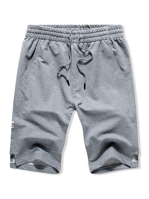 women Letter Applique Notched Sweat Shorts - LIGHT GRAY M Mobile