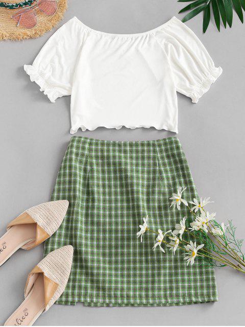 fashion ZAFUL Ribbed Plaid Slit Two Piece Dress - WHITE M Mobile