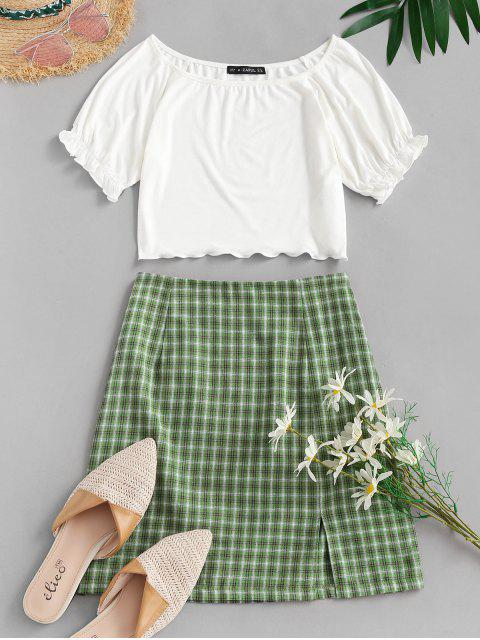 best ZAFUL Ribbed Plaid Slit Two Piece Dress - WHITE S Mobile