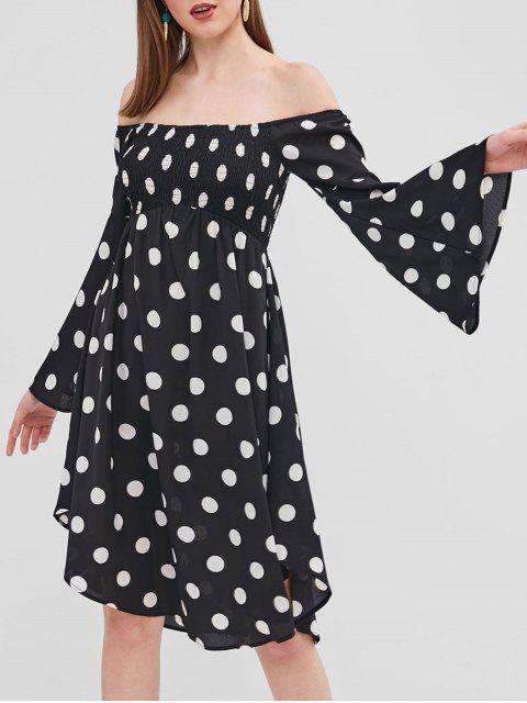 buy ZAFUL Polka Dot Flare Sleeve Off Shoulder Dress - BLACK M Mobile