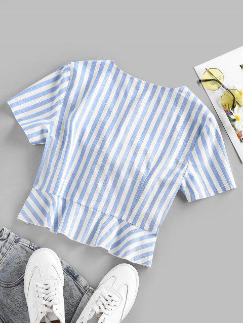 buy ZAFUL Tie Front Flounce Stripe Blouse - LIGHT BLUE L Mobile