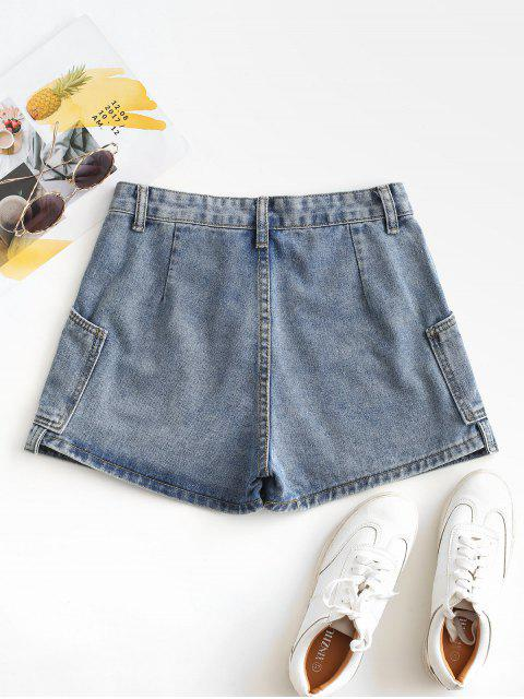 buy Layered D-ring Strap Denim Shorts - LIGHT BLUE S Mobile