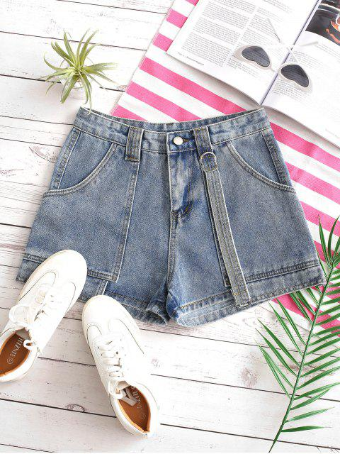 fancy Layered D-ring Strap Denim Shorts - LIGHT BLUE L Mobile