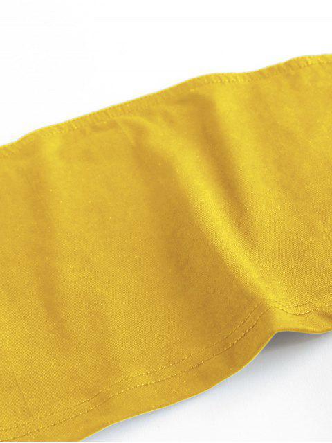 latest ZAFUL Sunflower Print Strapless Wide Leg Shorts Set - DEEP YELLOW XL Mobile